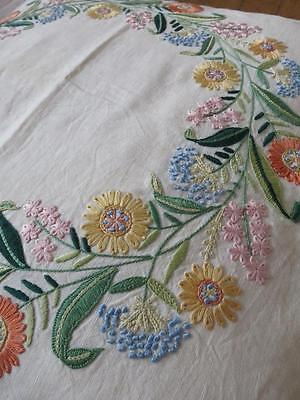 Stunning Irish Linen Hand Embroidered Cushion Cover & Pad- Wreath of Flowers