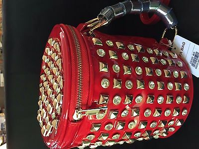 Alta Handbag Designer Inspired Red Faux Leather Studded Gold Small