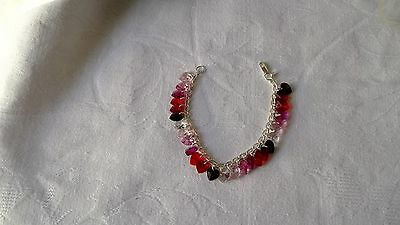 Sterling Silver 4 Mm Link Chain 7 1/2 Inch Crystal Heart Charm Bracelet