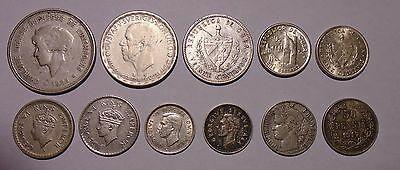 Lot of All Silver 11 Coins from Around the World