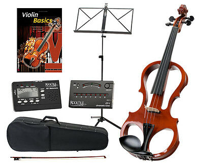 Professional Electric Violin 4/4 Size Gig Bag Bow Music Stand Metronome Set Nat