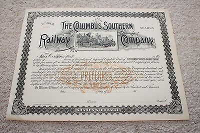 18?? The Columbus Southern Railway Company Stock Certificate