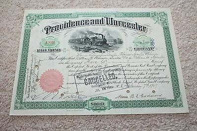 1907 Providence and Worcester Railroad Company Stock Certificate