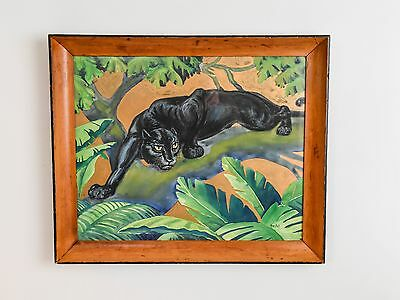 Mid Century Modern Black Panther Watercolor by Noslot African Mahogany Frame MCM