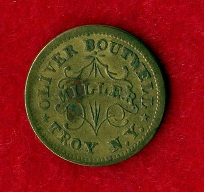 """1863 Oliver Boutwell Miller """"Redeemed At My Office"""" Troy N.Y. Token"""