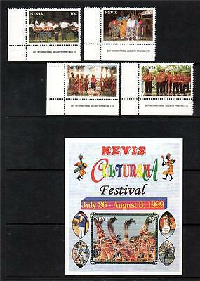 Nevis Mnh 1999 Sg1382-1385 & Ms1386 25Th Culturama Festival Set Of 4 & M/s