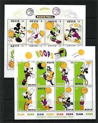 Nevis Mnh 1998 Sg1259-74 & Ms1275 70Th Birthday Mickey Mouse Set Of 16 & M/s X 4