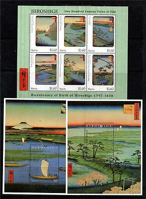Nevis Mnh 1997 Sg1094-1099 & Ms1100 Birth Bicent Of Hiroshige Set Of 6 & M/s X 2