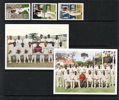 Nevis Mnh 1997 Sg1060-1062 & Ms1063 Nevis Cricketers Set Of 3 & M/s X 2