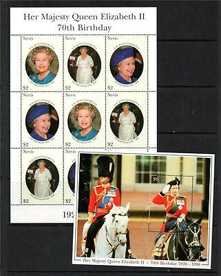 Nevis Mnh 1996 Sg1018-1020 & Ms1021 70Th Birthday Of Qeii Sheet Of 9 & M/s