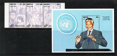 Nevis Mnh 1995 Sg913-915 & Ms916 50Th Anv United Nations Set Of 3 & M/s
