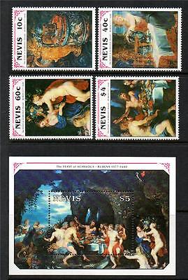 Nevis Mnh 1991 Sg573-576 & Ms577 350Th Death Anv Of Rubens Set Of 4 & M/s