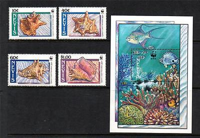 Nevis Mnh 1990 Sg531-534 & Ms535 Queen Or Pink Conch Set Of 4 & M/s
