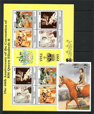 Nevis Mnh 1993 Sg753-756 & Ms757 40Th Anv Of Coronation Sheet & M/s