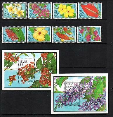 Nevis Mnh 1993 Sg735-742 & Ms743 West Indian Flowers Set Of 8 & M/s X 2