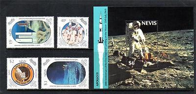Nevis Mnh 1989 Sg526-529 & Ms530 20Th Anv Manned Landing On Moon Set Of 4 & M/s