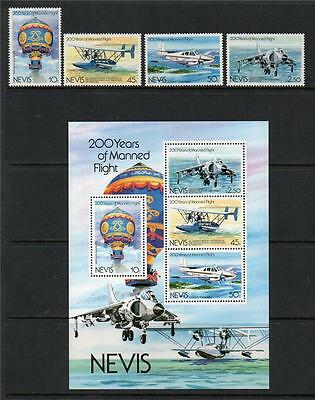 Nevis Mnh 1983 Sg122-125 & Ms126 Bicentenary Of Manned Flight Set Of 4 & M/s