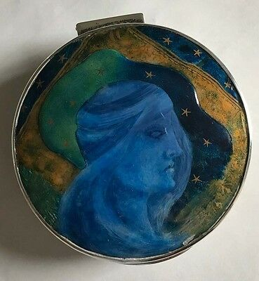 George Nathan and Ridley Hayes, chester Sterling Silver Enamel Art Nouveau Box
