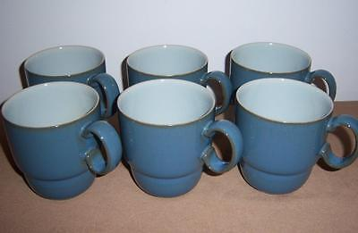 6 x DENBY STONEWARE EVERYDAY TEAL (BLUE) LARGE TEA OR COFFEE MUGS