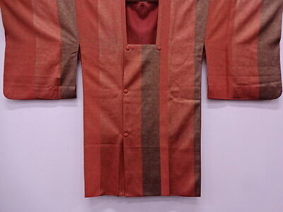 Vintage Japanese Michiyuki Coat Kimono, Silk Striped Craft Material, From Japan