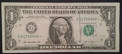 $1  2013 Star Note Green Seal  Federal Reserve Note G01755640*