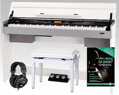 Digital Electronic Piano 210 Styles 88 Keys 3 Pedals Aux Midi Bench & Headphones