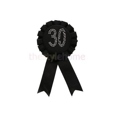 Black 30th Badge Rosette Birthday Party Favor Gift Accessory