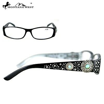 Montana West High Quality Silver Concho & Turquoise Reading Glasses