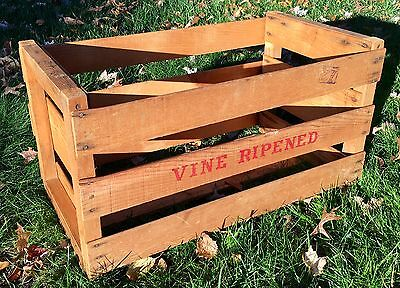 A++ Authentic Vintage Vine Ripened Tomato/Grape Vegetable Wooden Crate Excellent