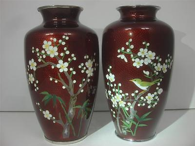 Japanese Pigeon Blood Red Silver Wire Plum Blossom Floral Birds Cloisonne 2 Vase