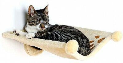 Trixie Plush Soft Wall Mounted Cat Kitten Bed Beige