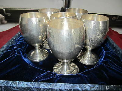 Set of 6 Hammered 910 Purity Silver (not Sterling) Spanish? Goblets No Mono