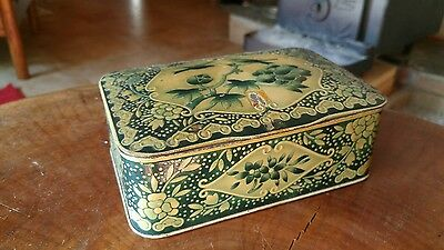 Antique Tin, made in England, blue bird with floral accents