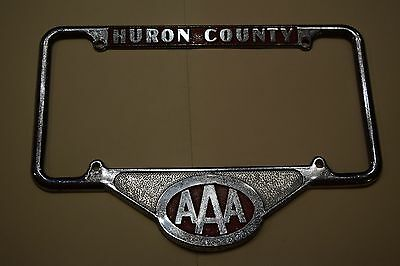 Vintage AAA Huron County License Plate Frame