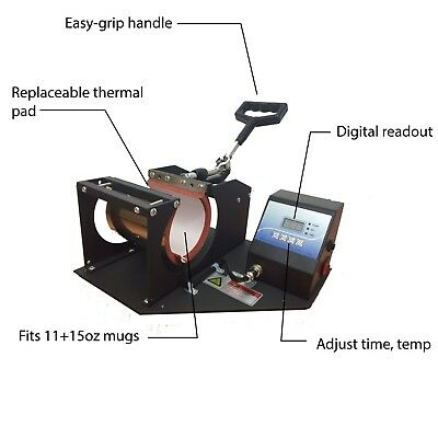 Digital Heat Press for Ceramic Coffee Mugs Dye Sublimation Printing 11oz and 15