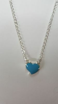 "Cute Tiny Blue Heart Necklace. 18"" Chain"