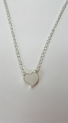 "Cute Tiny White Heart Necklace. 18"" Chain"