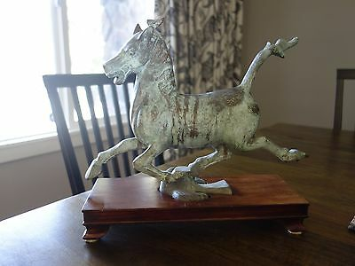 """13"""" Old Chinese Dynasty Palace Bronze Horse Stepping Flying Swallow Statue"""