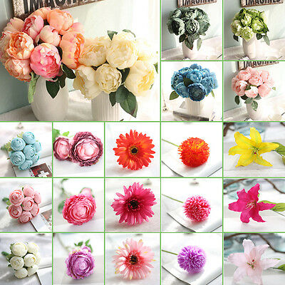 New Artifical Flowers Fake Peony Silk Flower Bouquet Home Party Wedding Decor