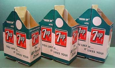 ( 3 ) Seven Up 7-Up Cardboard Double 2 Quart Bottle Pack Cartons N Old Stock