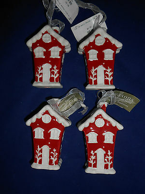 Lot of 4 Red & White Ceramic House Christmas Ornaments Lights Up New