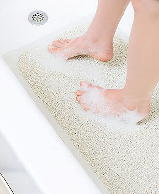 Non Slip Bathtub Rug Shower Mat Loofah Quick Drying Soft Antibacterial Ivory
