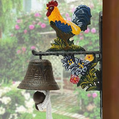 Vintage Retro Style Metal Cast Iron Rooster Door Bell Wall Mounted Garden Decor