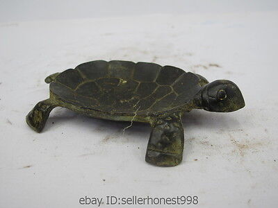 Lovely Chinese Folk Feng Shui Bronze Copper Turtle Tortoise Animal Statue