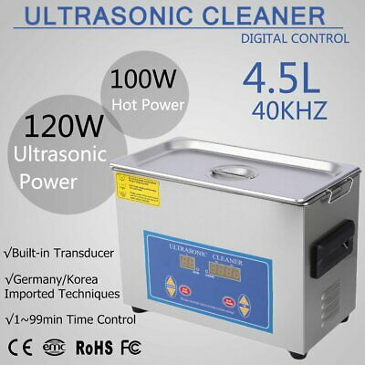 New Stainless Steel 4.5L Industry Heated Ultrasonic Cleaner with Heater Timer HL