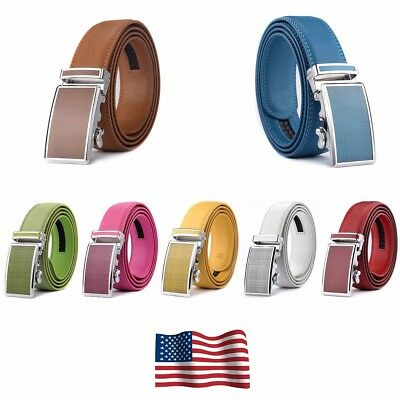 XHTang Colourful Mens Automatic Buckle Real Leather Ratchet Belt Waistband Jeans