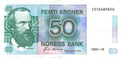 Norway 50 Kroner 1990 P 42e  circulated  Banknote , A 7