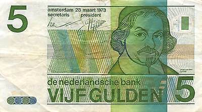 Netherlands 5 Gulden  28.3.1973  circulated  Banknote , A 7