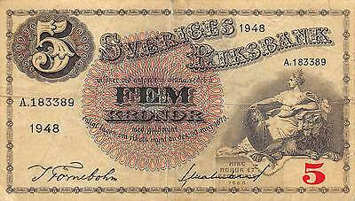 Sweden  5 Kronor  1948  P 33Ae  circulated Banknote
