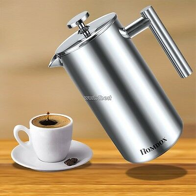 1000ml French Press Stainless Steel Double-Wall Cafetiere Cafe Coffee Maker WS